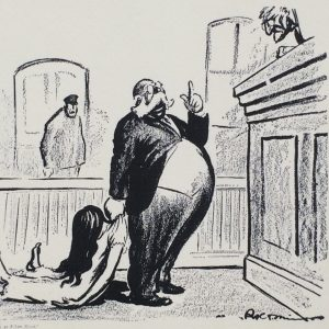 """Your Honor, This Woman Gave Birth to a Naked Child!"" Robert Minor, Cartoon of Anthony Comstock (1915)"