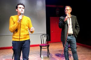 "Joe Leonardo (L) and David Ryan Polgar (R) hosting ""Funny as Tech"" on November 7, 2017."